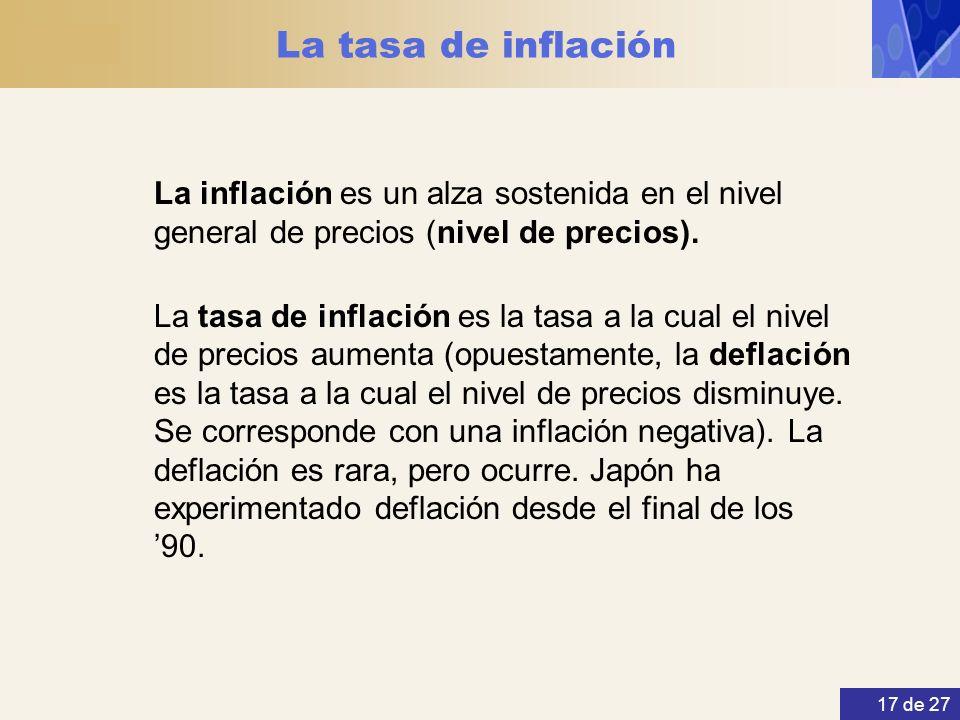 17 de 27 La tasa de inflación La inflación es un alza sostenida en el nivel general de precios (nivel de precios). La tasa de inflación es la tasa a l