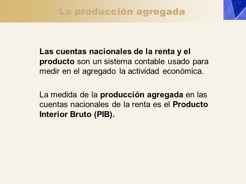 La producción agregada Las cuentas nacionales de la renta y el producto son un sistema contable usado para medir en el agregado la actividad económica