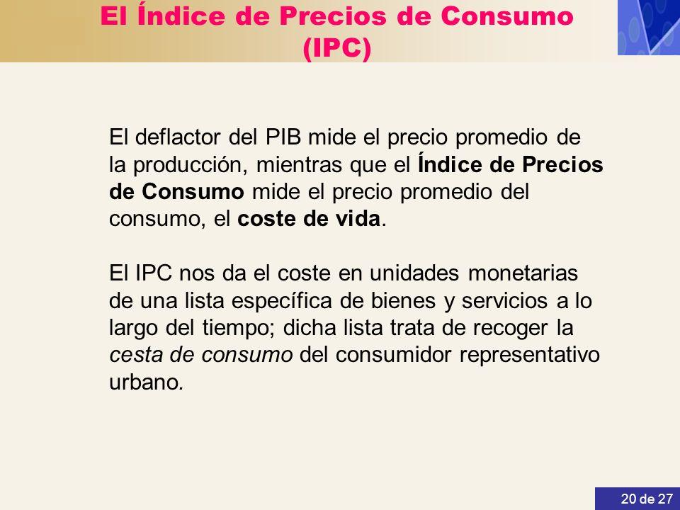 20 de 27 El Índice de Precios de Consumo (IPC) El deflactor del PIB mide el precio promedio de la producción, mientras que el Índice de Precios de Con