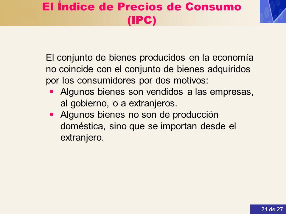 21 de 27 El Índice de Precios de Consumo (IPC) El conjunto de bienes producidos en la economía no coincide con el conjunto de bienes adquiridos por lo