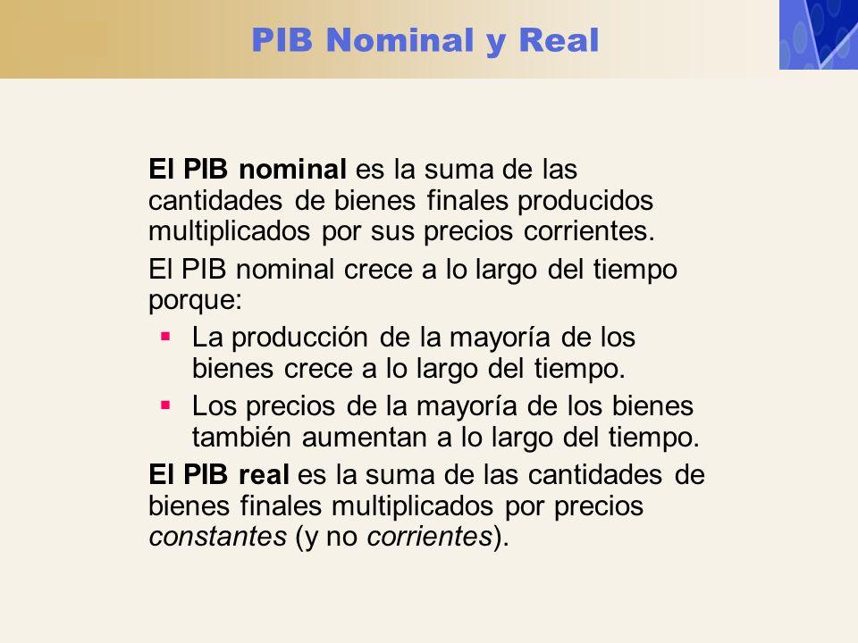 PIB Nominal y Real El PIB nominal es la suma de las cantidades de bienes finales producidos multiplicados por sus precios corrientes. El PIB nominal c