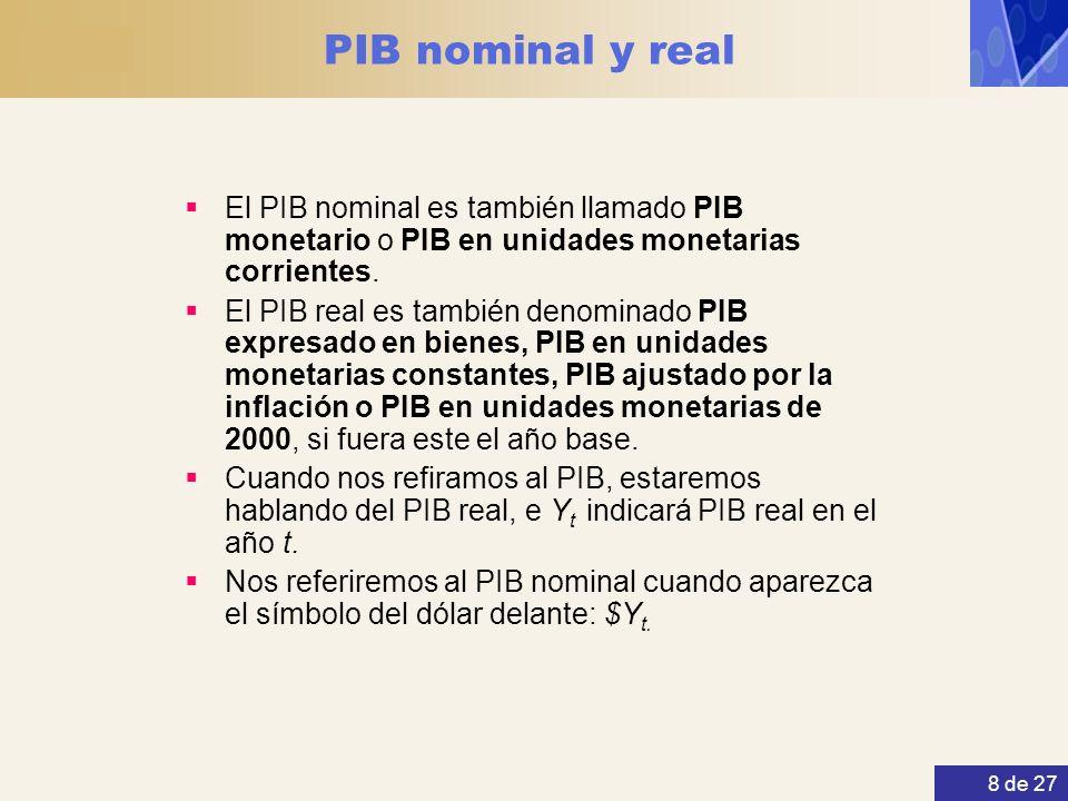 8 de 27 PIB nominal y real El PIB nominal es también llamado PIB monetario o PIB en unidades monetarias corrientes. El PIB real es también denominado