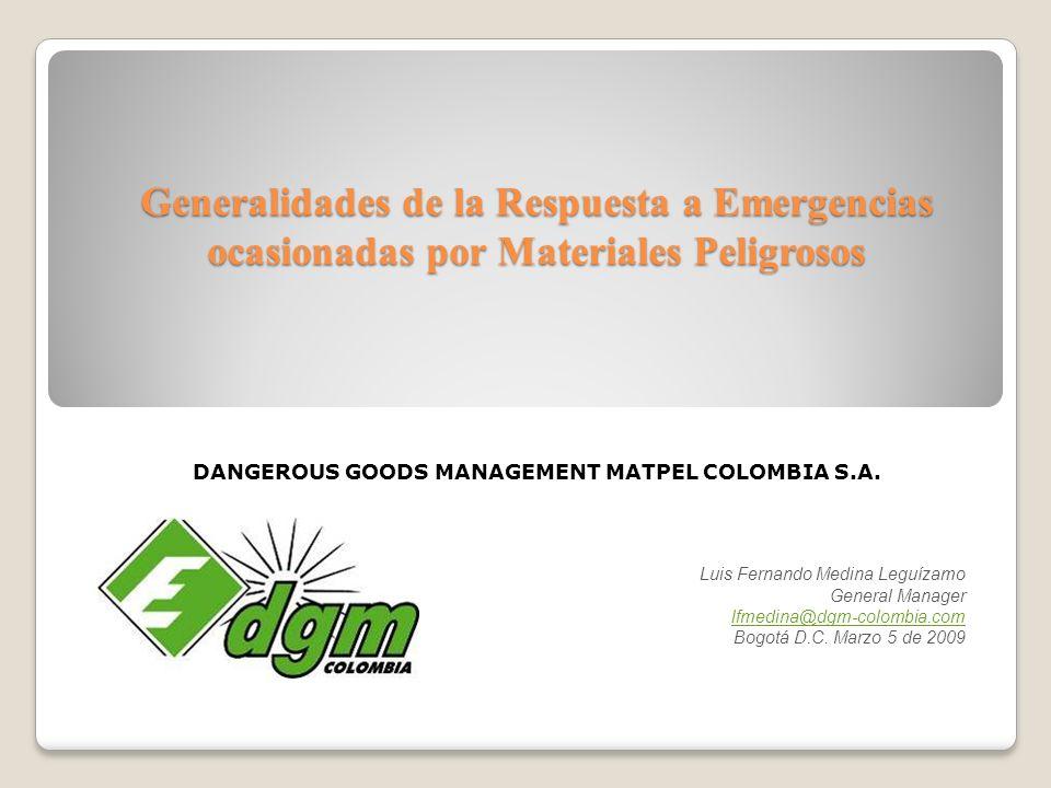 Generalidades de la Respuesta a Emergencias ocasionadas por Materiales Peligrosos DANGEROUS GOODS MANAGEMENT MATPEL COLOMBIA S.A. Luis Fernando Medina