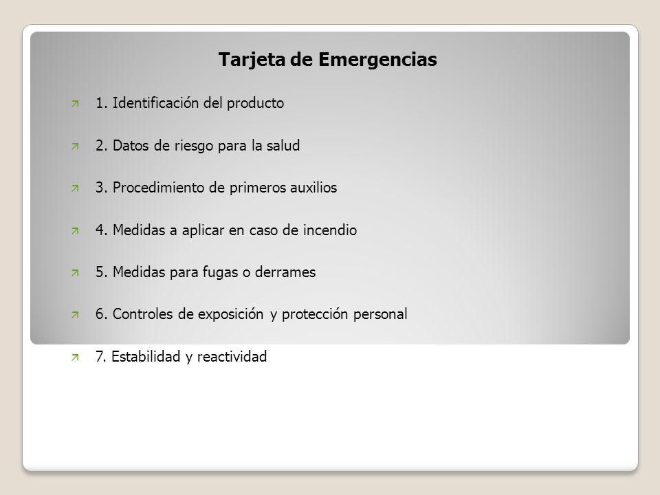 Tarjeta de Emergencias ä 1. Identificación del producto ä 2. Datos de riesgo para la salud ä 3. Procedimiento de primeros auxilios ä 4. Medidas a apli