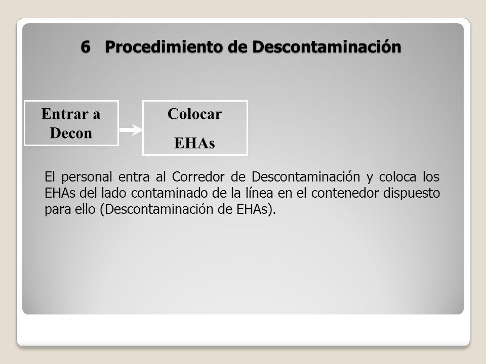 6 Procedimiento de Descontaminación Entrar a Decon Colocar EHAs El personal entra al Corredor de Descontaminación y coloca los EHAs del lado contamina