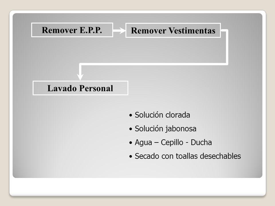 Remover E.P.P. Remover Vestimentas Lavado Personal Solución clorada Solución jabonosa Agua – Cepillo - Ducha Secado con toallas desechables