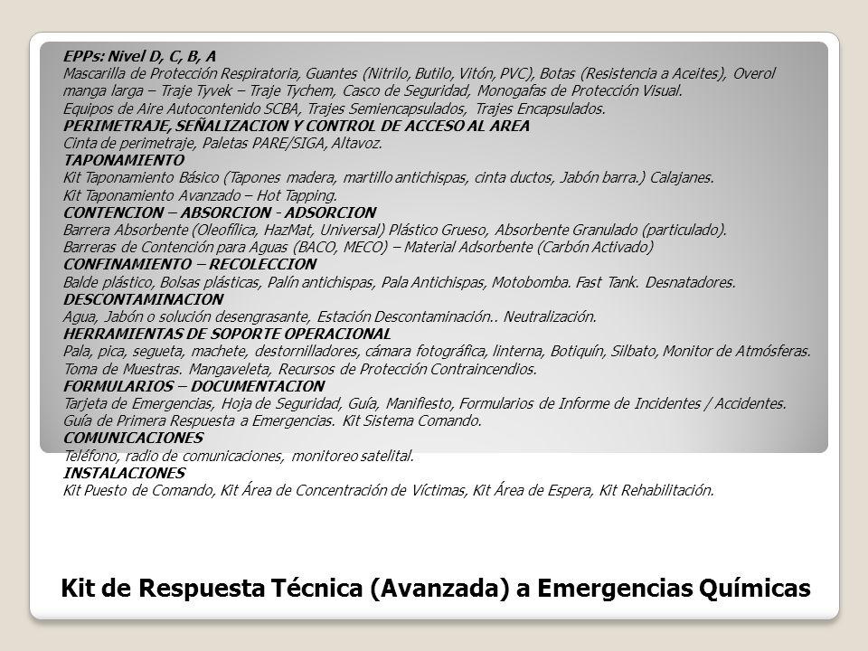 Kit de Respuesta Técnica (Avanzada) a Emergencias Químicas EPPs: Nivel D, C, B, A Mascarilla de Protección Respiratoria, Guantes (Nitrilo, Butilo, Vit