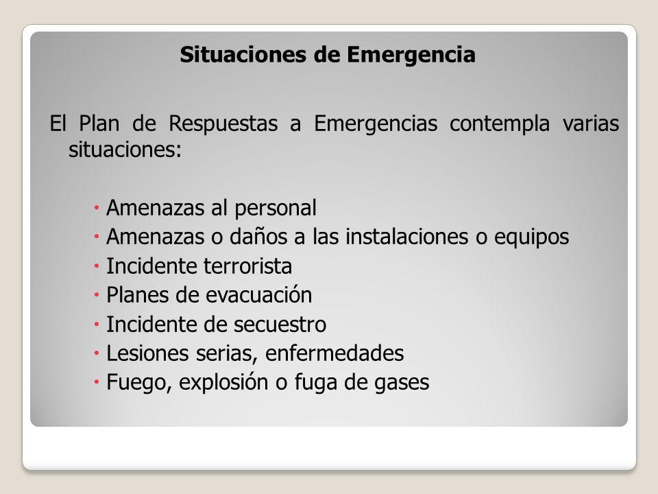 Situaciones de Emergencia El Plan de Respuestas a Emergencias contempla varias situaciones: Amenazas al personal Amenazas o daños a las instalaciones