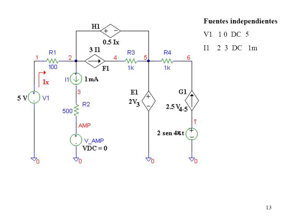12 En el caso de los generadores de de corriente las diferencias consisten en que la primera letra del nombre debe ser la letra I, y además el nodo po