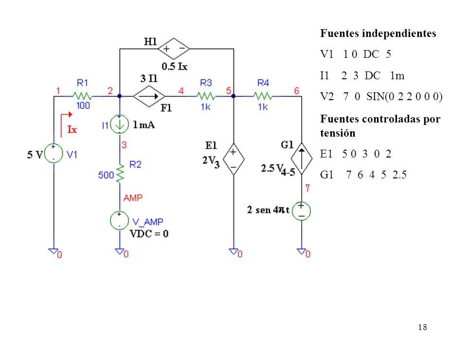 17 Generador de tensión controlado por tensión La sintaxis para la declaración es la siguiente : Generadores de corriente controlados por tensión la s