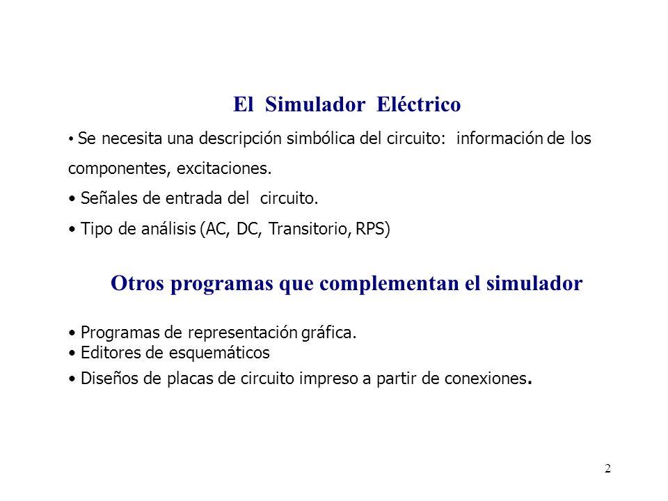 2 El Simulador Eléctrico Se necesita una descripción simbólica del circuito: información de los componentes, excitaciones.