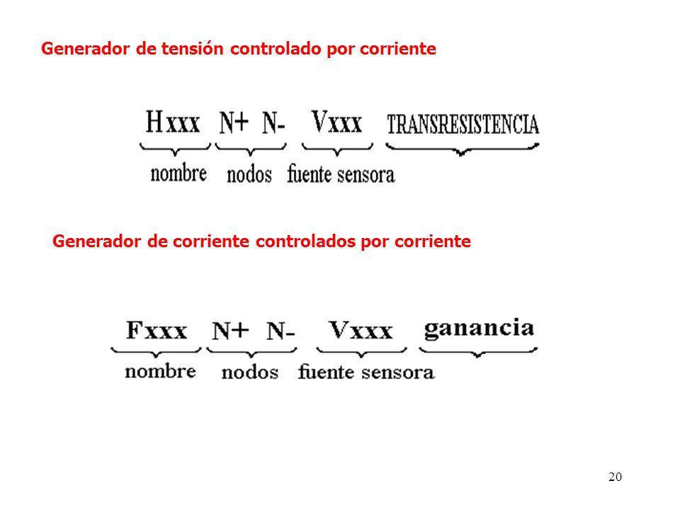 19 B. Generadores controlados por corriente. Cuando la variable de control de una fuente controlada es una corriente, PSPICE requiere la inserción de