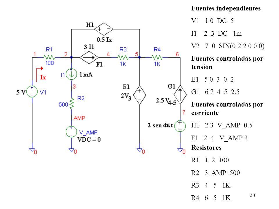 22 2.1.4 Elementos resistivos Para la inserción de elementos resistivos, se utiliza una sintaxis que consta de tres campos : La definición de la polar