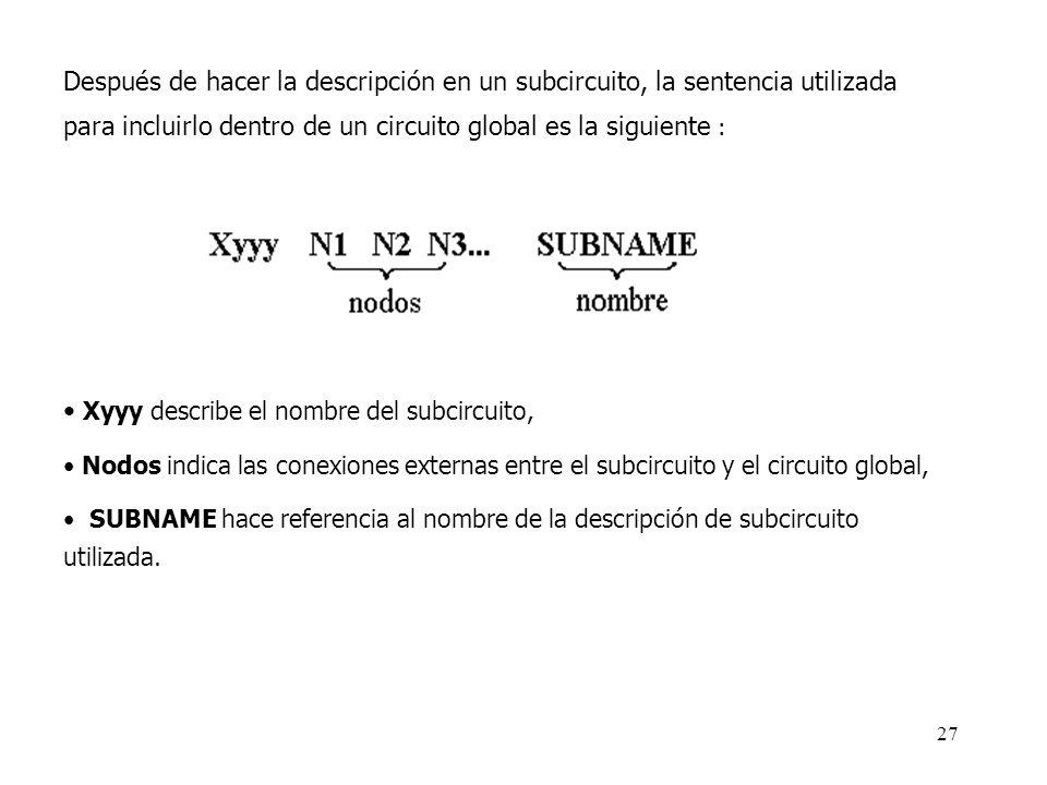 26 B. Modelo utilizando subcircuitos. Para definir un subcircuito en un archivo fuente de PSPICE es necesario utilizar la sentencia de control SUBCKT,