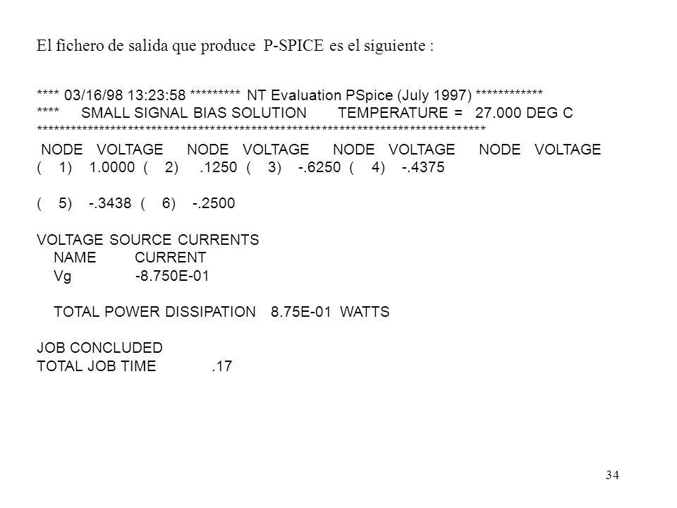 33 Ejemplo 1 : En el circuito de la figura, calcule V 1 y V o, sí V g = I g = g = 1. Problema 1.6 *Descripción de los elementos *nombre n+ n- valor R1