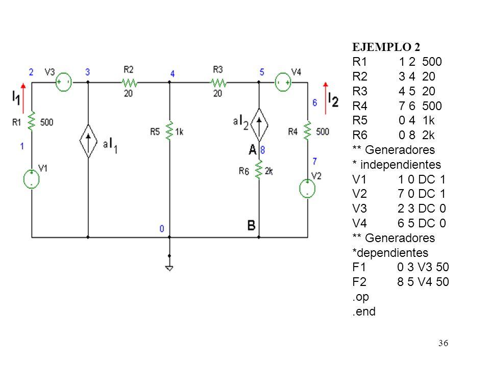 35 Ejemplo 2 : En el circuito del a figura hallar V a-b. Sí V 1 = V 2 = 1 y a = 50.