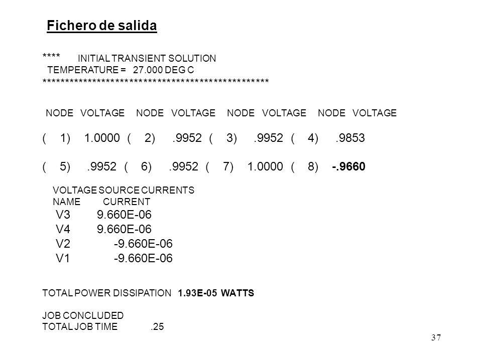 36 EJEMPLO 2 R1 1 2 500 R2 3 4 20 R3 4 5 20 R4 7 6 500 R5 0 4 1k R6 0 8 2k ** Generadores * independientes V1 1 0 DC 1 V2 7 0 DC 1 V3 2 3 DC 0 V4 6 5