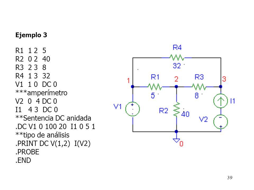 38 Ejemplo 3: En el siguiente circuito, varíe la fuente de corriente I1 de 0 a 3 A (en pasos de 1A). Para cada valor de corriente, obtenga el valor de
