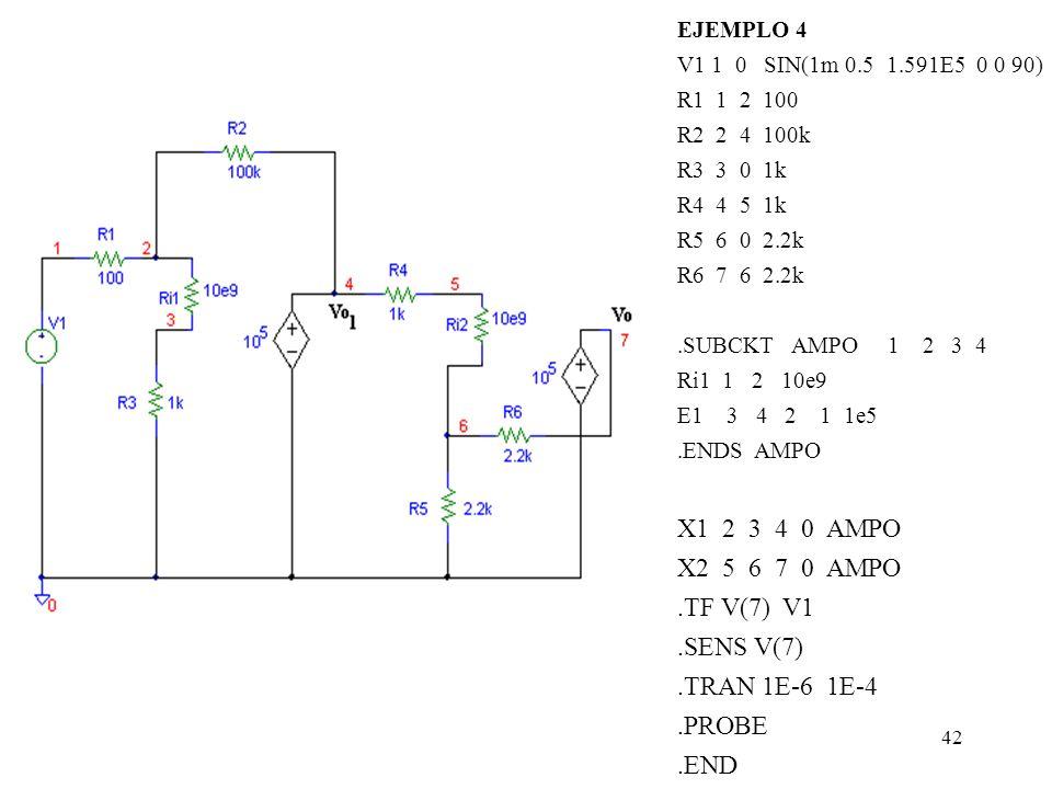 41 Ejemplo 4 : En el circuito de la figura hallar V O,V O1, la relación V O / V in y la sensibilidad del circuito. Sí V in = 10 -3 + 0.5cos(10 6 t), R