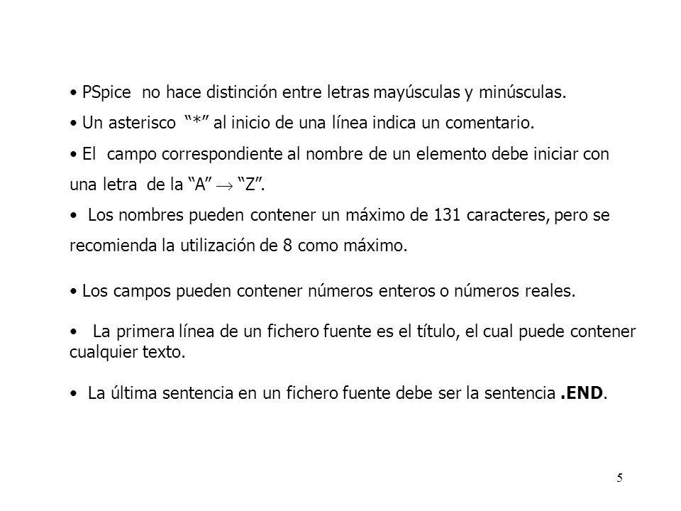 15 Fuentes independientes V1 1 0 DC 5 I1 2 3 DC 1m V2 7 0 SIN(0 2 2 0 0 0)