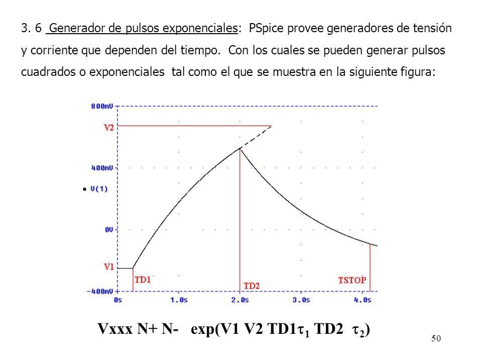 49 3.5 Sentencia.PROBE: La sentencia.PROBE, indica a PSpice que genere un archivo de datos (*.DAT), el cual contiene los resultados del análisis reali