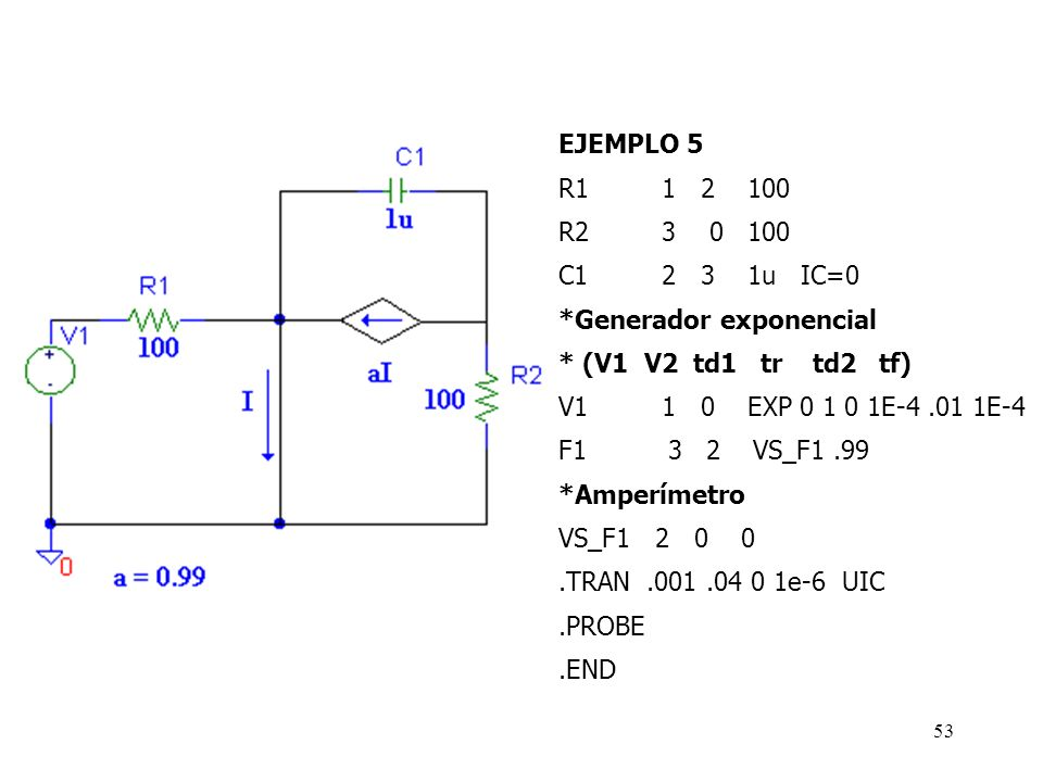 52 Ejemplo 5: En el siguiente circuito hallar l a tensión en R2, para t= 5 y 20 mseg, suponiendo que C1 se encuentra inicialmente descargado y que V1