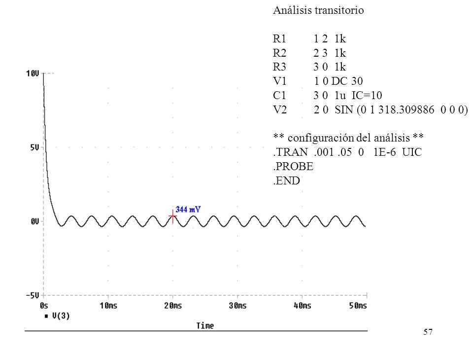56 Ejemplo 6: En el siguiente circuito hallar la tensión en Vo para t > 0, sí V1 = 30 V y V2 = sen (2x10 3 t). Respuesta: