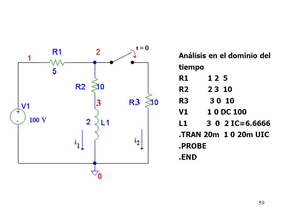 58 Ejemplo 7: En el siguiente circuito, encuentre I 1 e I 2 para t > 0. I 1 (0 - )= 6.66667