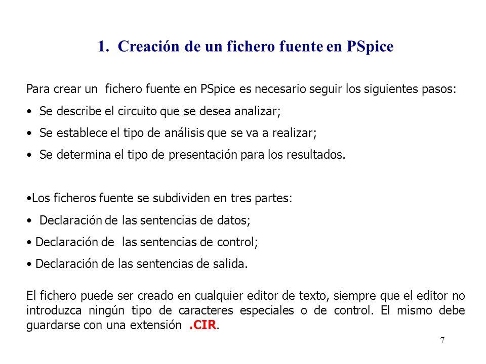 6 En la siguiente tabla se presentan los factores de escala utilizados por PSpice y sus respectivas formas exponenciales. FACTORES DE ESCALA DE PSPICE