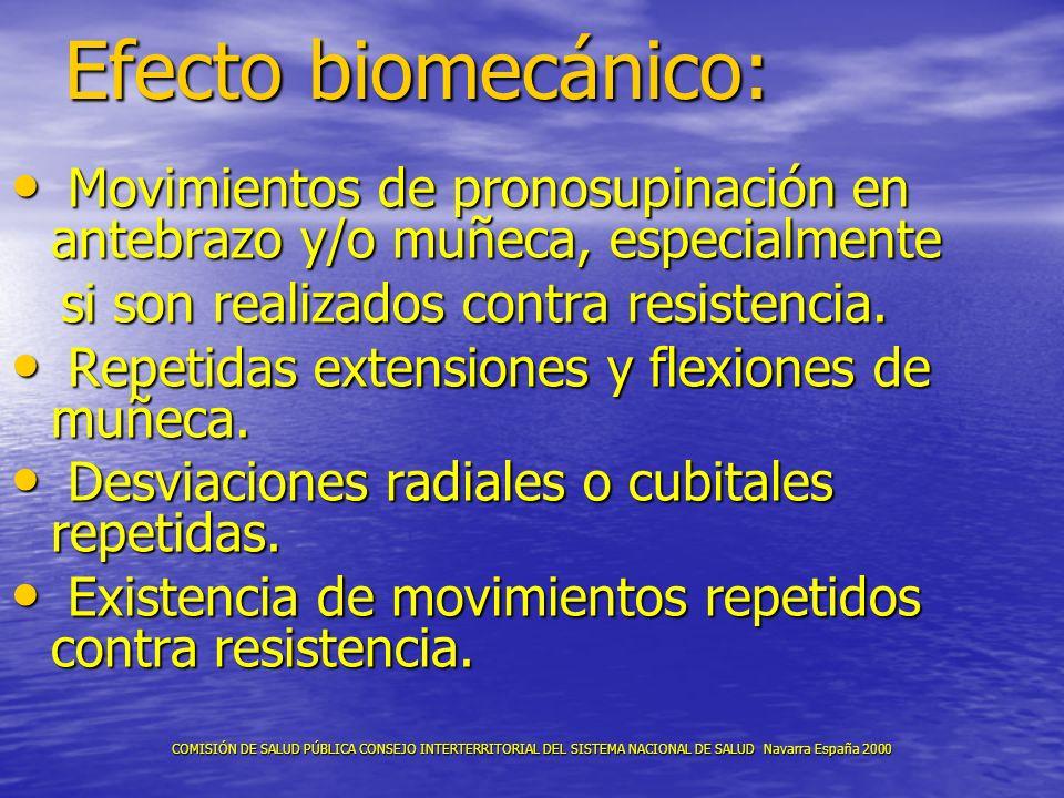 Efecto biomecánico: Movimientos de pronosupinación en antebrazo y/o muñeca, especialmente Movimientos de pronosupinación en antebrazo y/o muñeca, espe