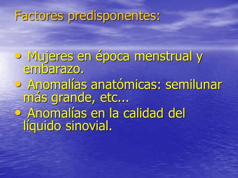 Factores predisponentes: Mujeres en época menstrual y embarazo. Mujeres en época menstrual y embarazo. Anomalías anatómicas: semilunar más grande, etc