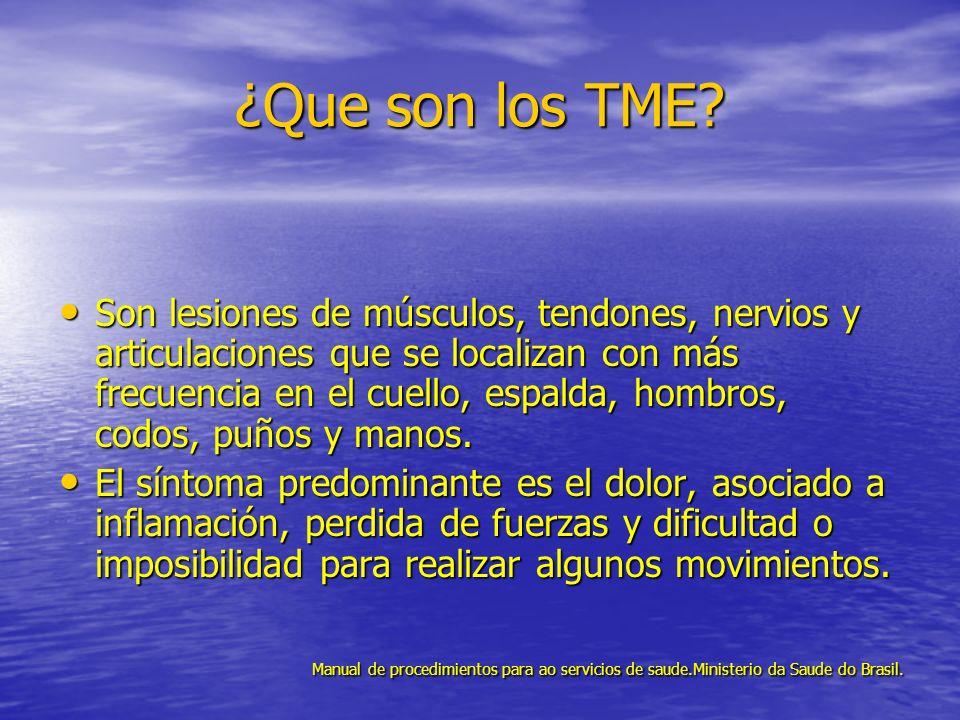 ¿Que son los TME? Son lesiones de músculos, tendones, nervios y articulaciones que se localizan con más frecuencia en el cuello, espalda, hombros, cod