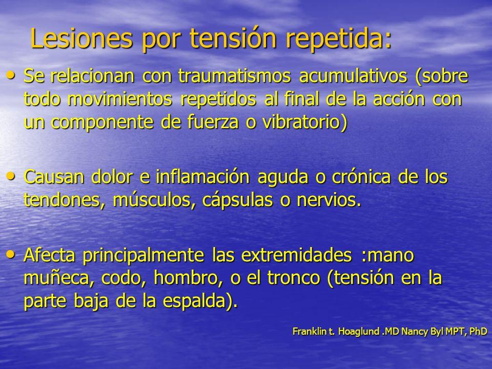 Lesiones por tensión repetida: Se relacionan con traumatismos acumulativos (sobre todo movimientos repetidos al final de la acción con un componente d