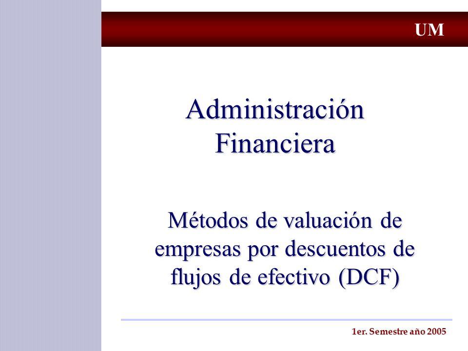 Metodos de Valuación por DCF Diferentes medidas del flujo de efectivo FCF - Free Cash Flow (Flujo de efectivo Libre) FCF - Free Cash Flow (Flujo de efectivo Libre) ECF - Equity Cash Flow (Flujo de efectivo para el accionista) ECF - Equity Cash Flow (Flujo de efectivo para el accionista) CCF - Capital Cash Flow (Flujo de efectivo para accionistas y acreedores) CCF - Capital Cash Flow (Flujo de efectivo para accionistas y acreedores) OCF - Operative Cash Flow (Flujo de efectivo operativo) OCF - Operative Cash Flow (Flujo de efectivo operativo) Importante: Son todas medidas diferentes de un mismo flujo UM Prof.