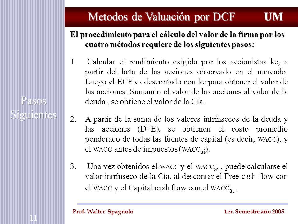 Metodos de Valuación por DCF El procedimiento para el cálculo del valor de la firma por los cuatro métodos requiere de los siguientes pasos: 1. Calcul
