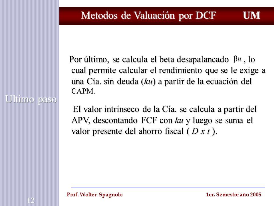 Metodos de Valuación por DCF Por último, se calcula el beta desapalancado, lo cual permite calcular el rendimiento que se le exige a una Cía. sin deud