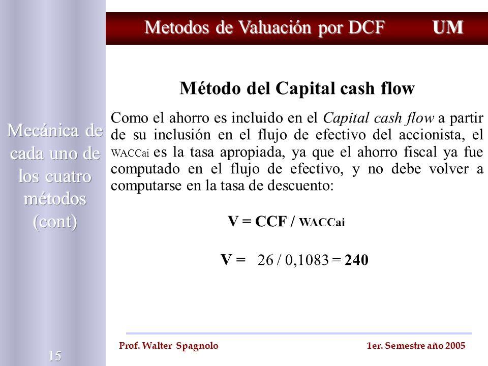 Metodos de Valuación por DCF UM Prof. Walter Spagnolo 1er. Semestre año 2005 Método del Capital cash flow Como el ahorro es incluido en el Capital cas
