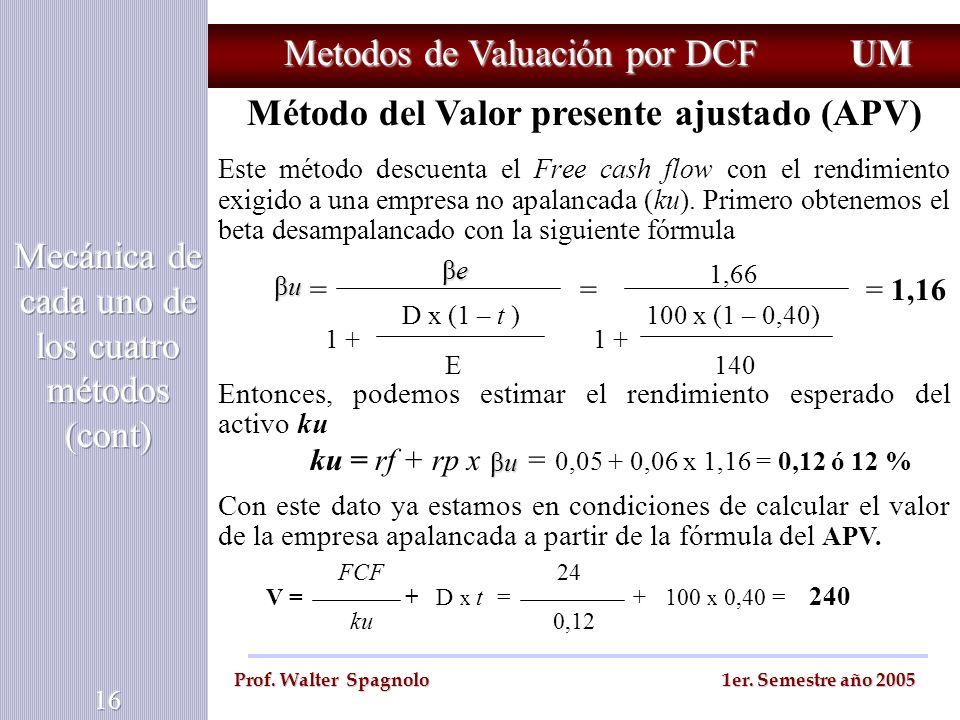 Metodos de Valuación por DCF UM Prof. Walter Spagnolo 1er. Semestre año 2005 Método del Valor presente ajustado (APV) Este método descuenta el Free ca