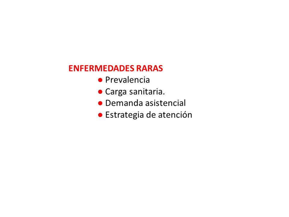 ENFERMEDADES RARAS Prevalencia Carga sanitaria. Demanda asistencial Estrategia de atención