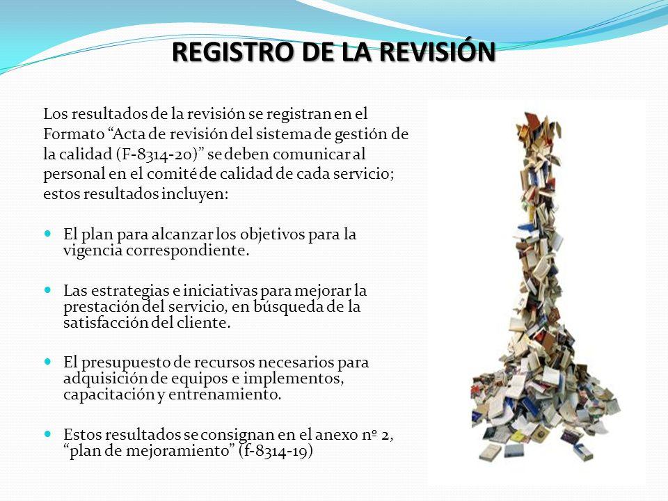 REGISTRO DE LA REVISIÓN Los resultados de la revisión se registran en el Formato Acta de revisión del sistema de gestión de la calidad (F-8314-20) se