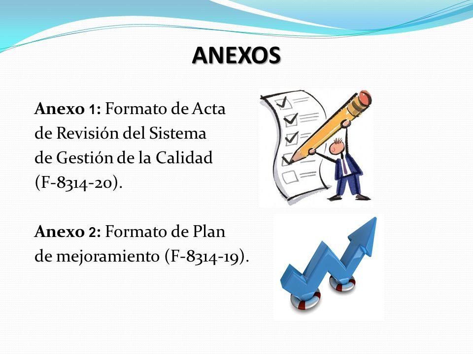 ANEXOS Anexo 1 : Formato de Acta de Revisión del Sistema de Gestión de la Calidad (F-8314-20). Anexo 2 : Formato de Plan de mejoramiento (F-8314-19).