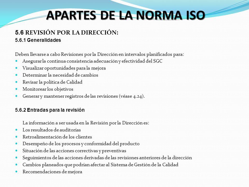 APARTES DE LA NORMA ISO 5.6 REVISIÓN POR LA DIRECCIÓN: 5.6.1 Generalidades Deben llevarse a cabo Revisiones por la Dirección en intervalos planificado