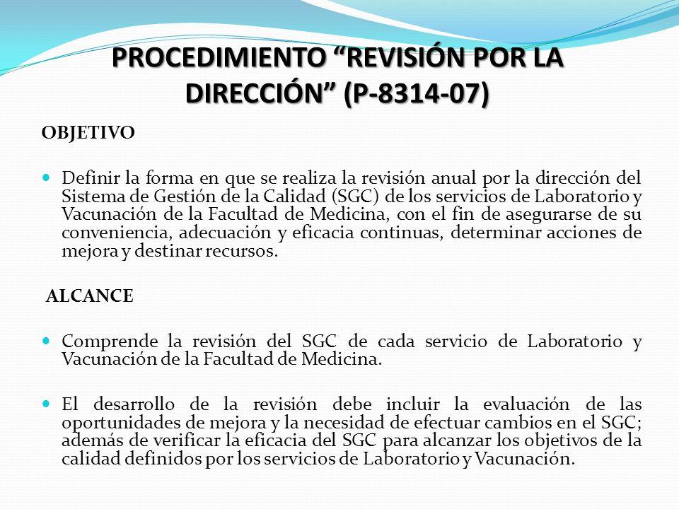 RESPONSABILIDAD La Revisión por la Dirección será realizada por el Jefe de cada servicio de laboratorio y vacunación de la Facultad de Medicina o quien este delegue.