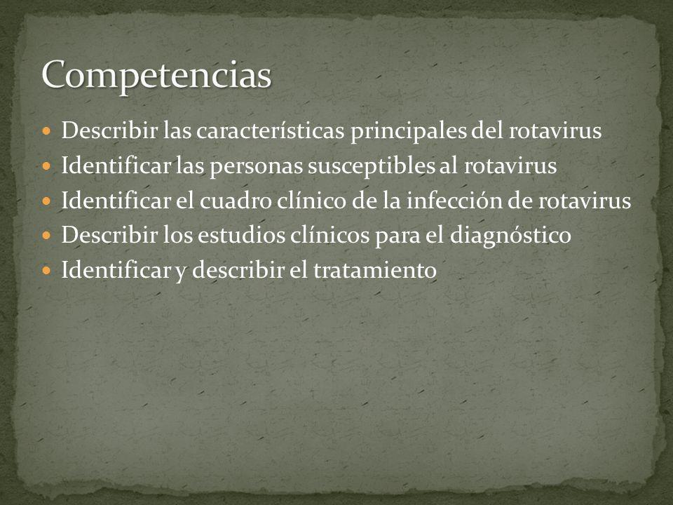 Describir las características principales del rotavirus Identificar las personas susceptibles al rotavirus Identificar el cuadro clínico de la infecci