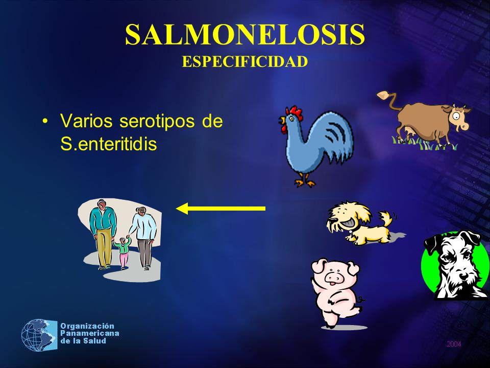 SALMONELOSIS ESPECIFICIDAD Varios serotipos de S.enteritidis