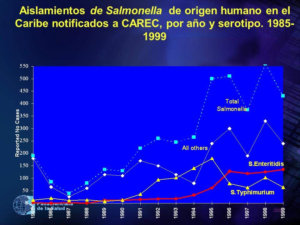 Aislamientos de Salmonella de origen humano en el Caribe notificados a CAREC, por año y serotipo. 1985- 1999