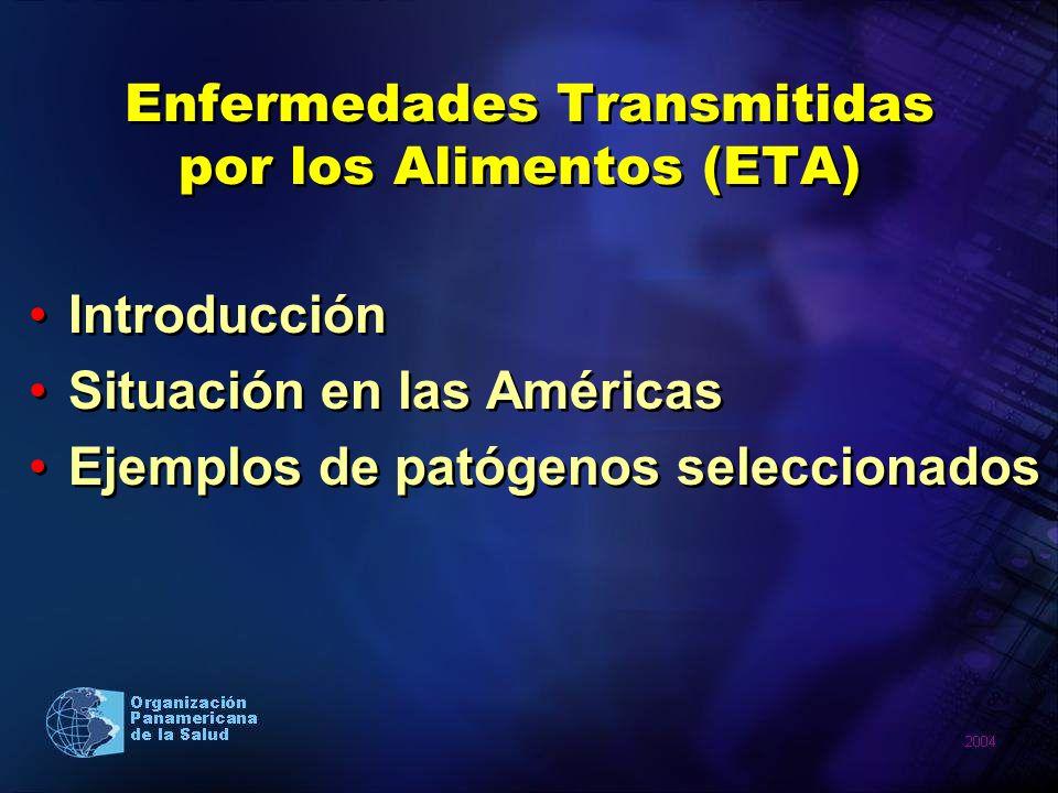 Enfermedades Transmitidas por los Alimentos (ETA) Introducción Situación en las Américas Ejemplos de patógenos seleccionados Introducción Situación en