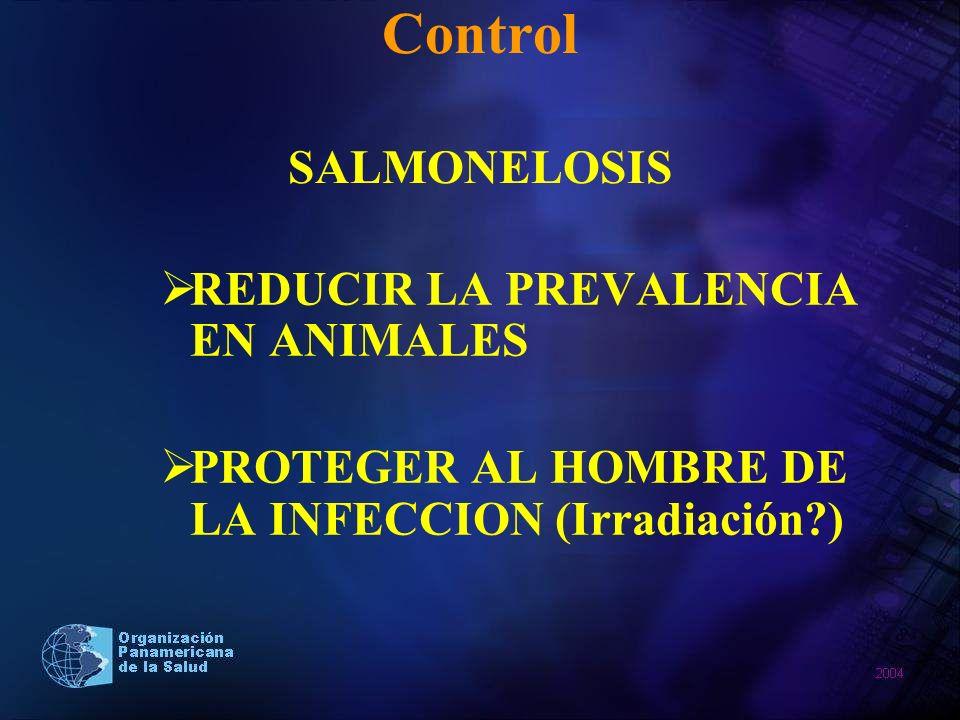 Control SALMONELOSIS REDUCIR LA PREVALENCIA EN ANIMALES PROTEGER AL HOMBRE DE LA INFECCION (Irradiación?)
