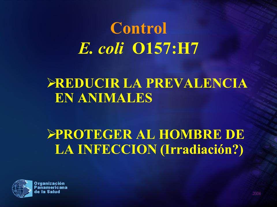 Control E. coli O157:H7 REDUCIR LA PREVALENCIA EN ANIMALES PROTEGER AL HOMBRE DE LA INFECCION (Irradiación?)