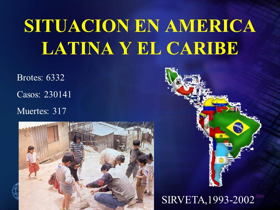 SITUACION EN AMERICA LATINA Y EL CARIBE Brotes: 6332 Casos: 230141 Muertes: 317 SIRVETA,1993-2002